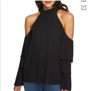1.STATE black cold shoulder tiered sleeve blouse